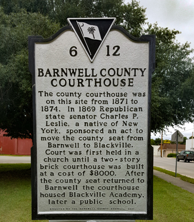 Barnwell Courthouse Historical Marker | Thoroughbred Country